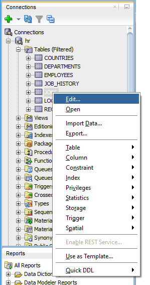 How to edit column comments with Oracle SQL Developer - Oracle SQL