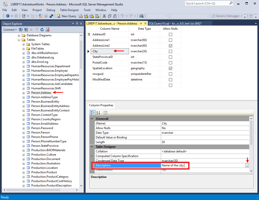4 options to edit table descriptions in sql server for Table description