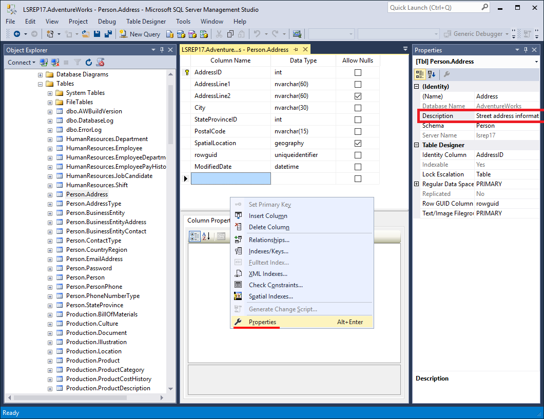 how to find a table in sql server management studio