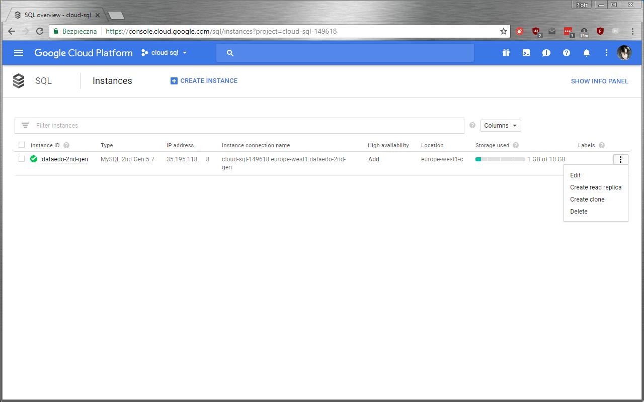 Google Cloud SQL list