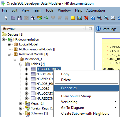 How to generate database documentation with oracle sql developer if your database had comments saved directly in the database you can see them in tab comments in rdbms in oracle sql developer data modeler you have three ccuart