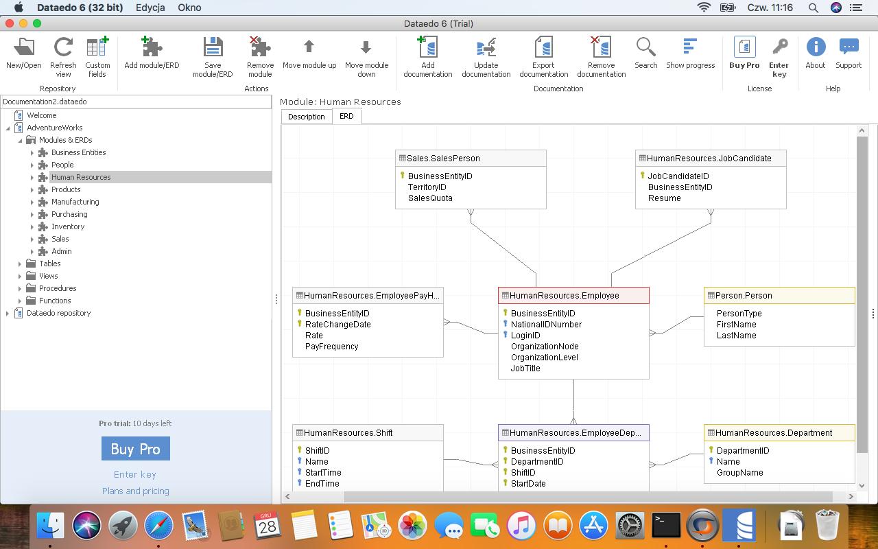 Dataedo on macOS - ERD