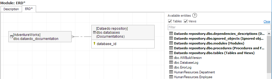 Cross database ERD