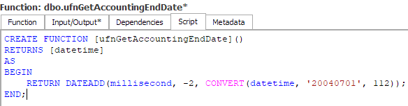 Function script tab