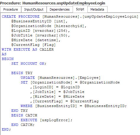 Procedure Script tab