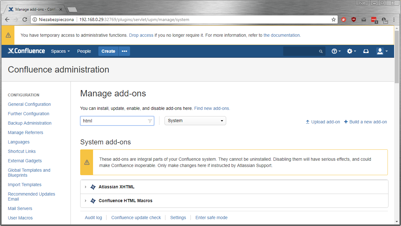 Confluence - manage add-ons