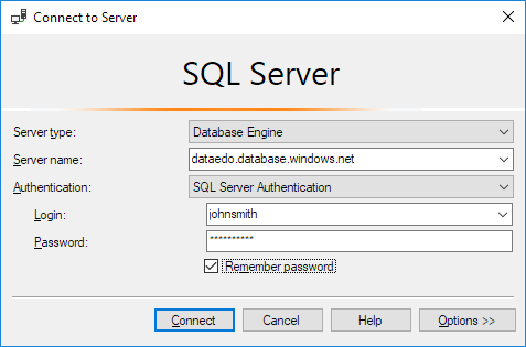 Connect with SSMS