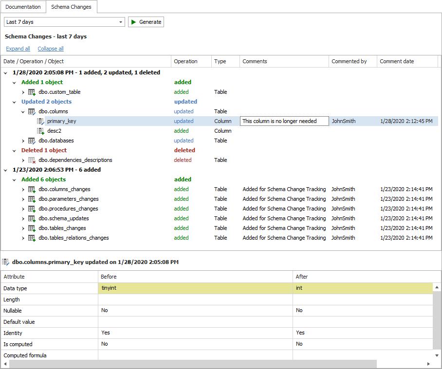 schema change tracking