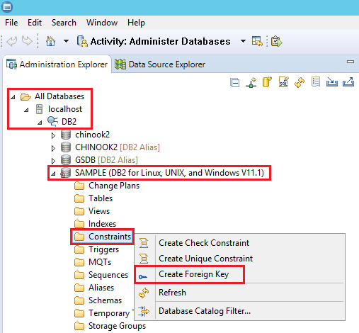 How to create foreign keys in DB2 using IBM Data Studio