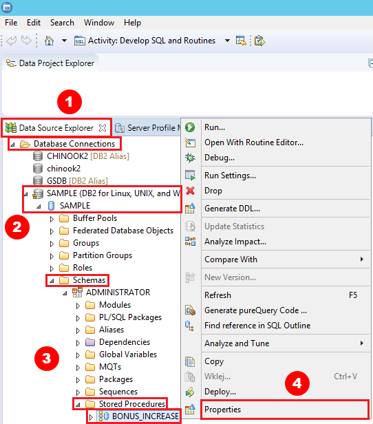 View source code of stored procedure with IBM Data Studio