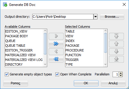 How to export data dictionary with Oracle SQL Developer