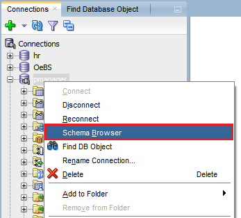 How to find table in a database with Oracle SQL Developer