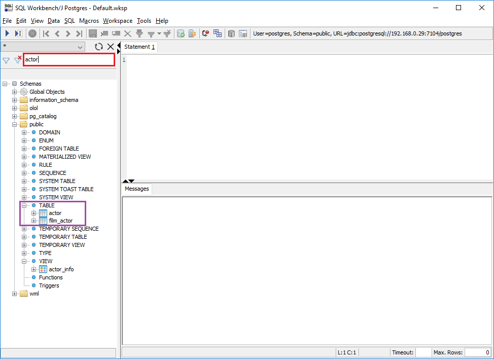 How to find table in a database with SQL Workbench/J - SQL