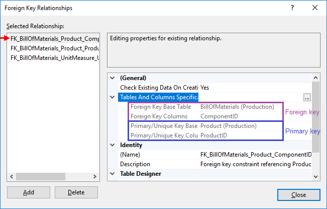 How to view table foreign keys (FK) in SQL Server with SSMS