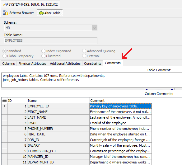 How to view and edit table and column comments with Toad for Oracle