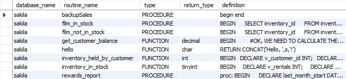 List stored procedures and functions in MySQL database - MySQL Data