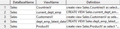 List views in Teradata with their scripts - Teradata Data