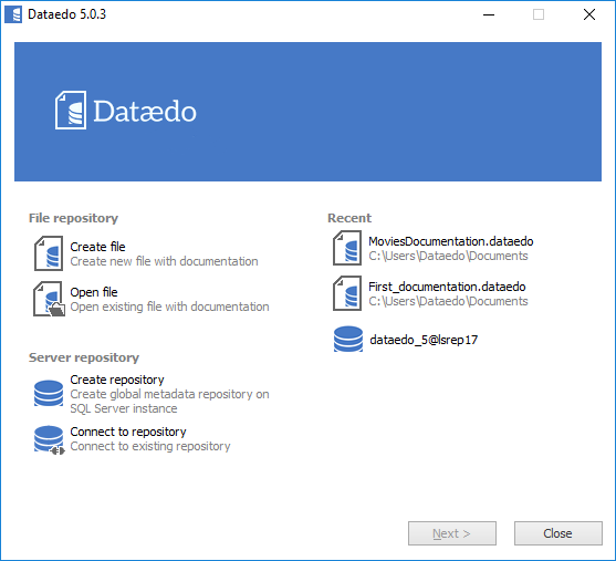 Dataedo connect window screenshot