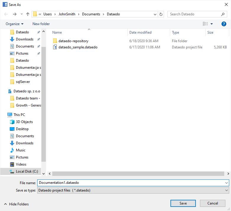 New file - location and filename