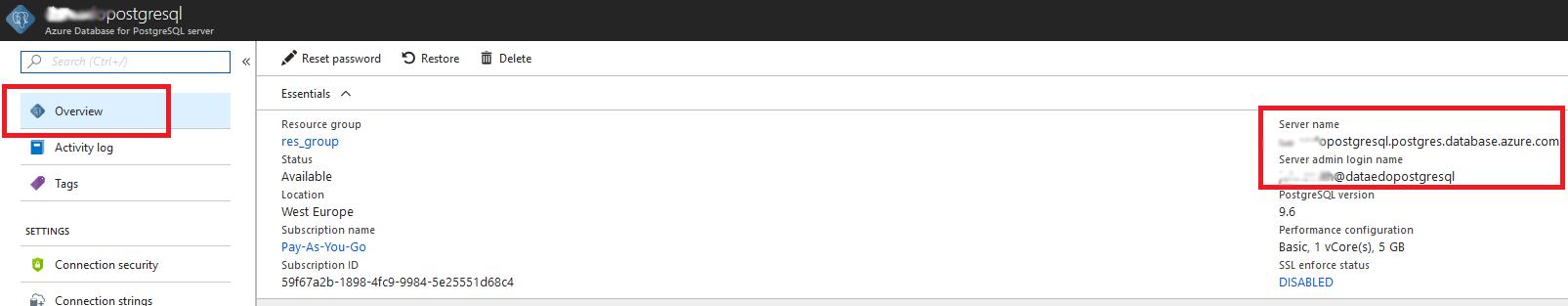 Connection to Azure Database for PostgreSQL
